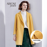 艾诺丝冬装新款羊毛呢大衣女双面尼外套中长款宽松雅诗
