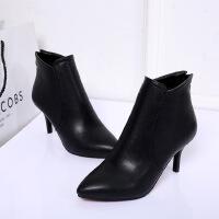 欧美尖头7cm高跟鞋性感细跟短靴女鞋简约单靴踝靴子秋季新款