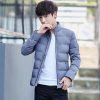 冬季男装外套加厚青年潮流休闲韩版棉袄修身短款男士立领棉衣 灰色 L