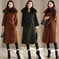 2017冬季新款女装毛呢外套女中长款韩版加厚大毛领呢子大衣过膝