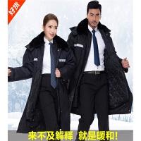 冬季加厚军大衣棉大衣保安工作服冬装大衣男加长防寒服保暖棉衣 X
