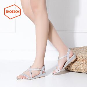 达芙妮旗下shoebox鞋柜新款夏季平跟凉鞋夏天韩版学生女鞋