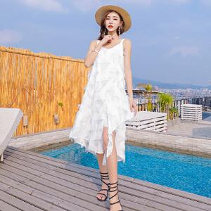 RANJU 然聚2018女装夏季新品新款巴厘岛沙滩裙吊带显瘦海边度假裙露背流苏连衣裙