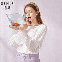 45森马长袖衬衫女2019夏季新款白色小清新衬衣方领喇叭袖宽松上衣