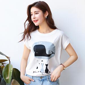 新品韩版宽松百搭圆领短袖T恤棉海豚印花半袖女装上衣