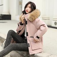【1件3折 到手价:549元】高梵羽绒服女短款2019新款大毛领时尚个性白鸭绒冬季防风保暖外套