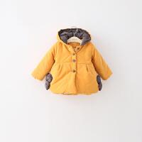 GY097-冬季新款女童花朵加厚连帽外套棉衣