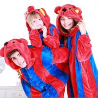 秋冬季法兰绒男女动物家居服可爱儿童套装厚款连体睡衣 巴萨单套
