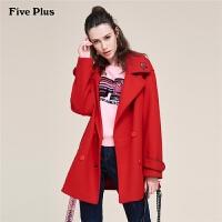 Five Plus女装羊毛呢外套女中长款西装领呢子大衣潮宽松刺绣