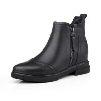 欧美时尚秋季新款真皮女靴尖头侧拉链舒适粗跟短靴