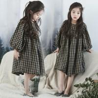 女童秋装新款韩版童装纯棉长袖连衣裙子中大童格子宽松娃娃裙