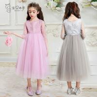 温婉仙子蕾丝纱袖中长款女童长袖公主裙表演裙生日派对裙舞蹈裙