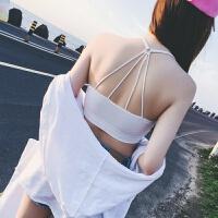 抹胸带胸垫吊带睫毛蕾丝挂脖抹胸裹胸性感防走光打底背心女黑白色 均码,带胸垫建议胸围65CM-95CM