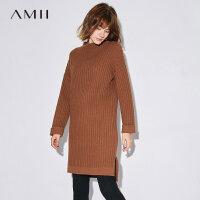 Amii[极简主义]半高领连衣裙2017秋装新款卷边落肩袖开叉毛衣裙