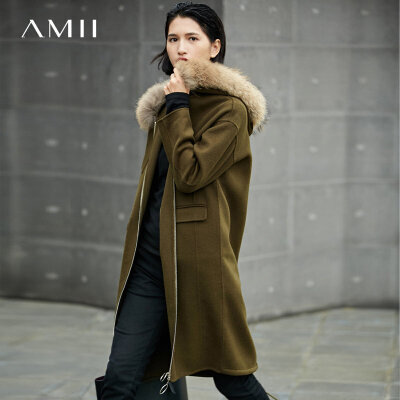 【品牌团 1件7折/2件5折】Amii[极简主义]奢华大毛领 100%羊毛呢外套女 冬季抽绳双面呢大衣