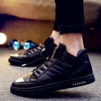 冬季潮鞋高帮鞋学生韩版潮流板鞋高邦男鞋子社会精神小伙嘻哈黑色