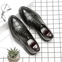 布洛克雕花男鞋黑色婚礼鞋夏季潮鞋英伦风韩版尖头正装休闲皮鞋男