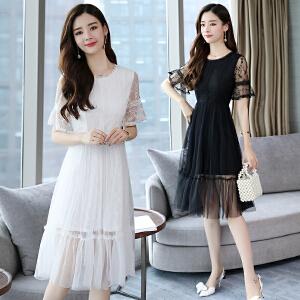 2018夏季新款网纱拼接蕾丝气质修身公主裙中长款短袖连衣裙女