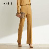 【预估价121元】Amii极简洋气休闲西装阔腿裤子女2019秋新款气质高腰显瘦喇叭长裤