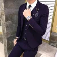 2017秋新款男士西服套装男休闲青年西装韩版三件套帅气修身婚礼服