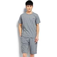 夏季男士运动服套装中老年男装短袖圆领T恤五分裤球服跑步装夏薄 6X