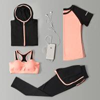 大码运动套装健身房胖mm女短裤跑步衣服速干衣瑜伽服宽松五件套