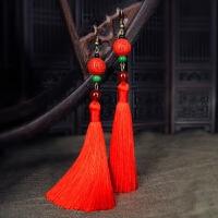红色气质中国风流苏耳环女复古长款大气耳坠民族风古典耳饰