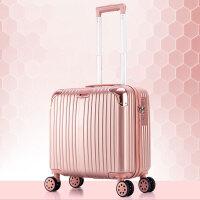 登机箱18寸行李箱包女士迷你16小型旅行箱子商务拉杆箱男20寸韩版 玫瑰金【挂钩+静音万向轮】 816款