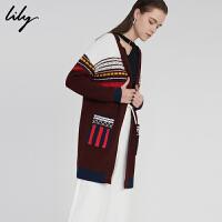 【不打烊价:299.7元】 Lily春新款女装时尚双口袋中长款绣线针织衫118130B1715