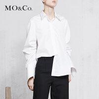 MOCO春季新品尖角领抽褶绑带纯棉衬衫MA181SHT110 摩安珂