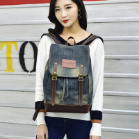 韩版书包小清新学院风牛仔双肩包女学生背包 文艺水洗帆布旅行包