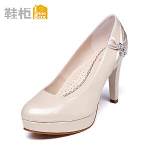 达芙妮旗下SHOEBOX/鞋柜防水台高跟单鞋 浅口细跟女鞋