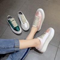 新款平底百搭学生板鞋女 时尚厚底系带休闲鞋女 韩版绸缎帆布鞋小白鞋女