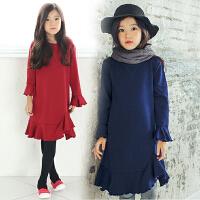 秋冬韩版童装新款女童连衣裙加绒加厚中大儿童A字型裙花边喇叭袖