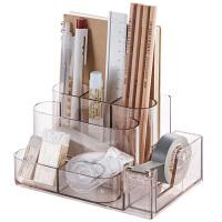 透明桌面文具收纳盒书桌置物架办公室用品收纳架分格整理盒
