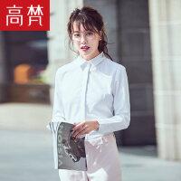 高梵 新款工装白衬衫女 长袖百搭修身OL职业装衬衣女装白领正装