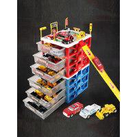 儿童停车场玩具套装小汽车合金车男孩收纳盒箱消防车工程多层车库
