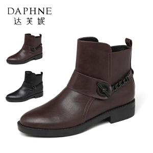 【9.20达芙妮超品2件2折】Daphne/达芙妮冬时尚低跟 个性链条装饰方跟单皮靴