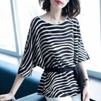 圆领蝙蝠袖条纹雪纺t恤女气质 女装2019新款潮韩版时尚上衣