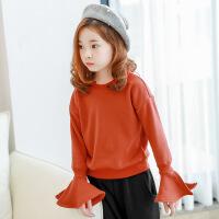 2017秋冬新款韩版童装女童纯棉长袖T恤中大童加绒加厚喇叭袖上衣