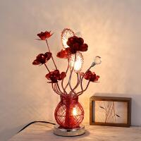 创意卧室床头水晶台灯欧式温馨红色玫瑰花结婚庆生日礼物 LED夜灯 按钮开关