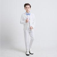 六一儿童西装主持人服男童演出服装套装礼服男孩钢琴表演白色西服