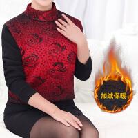 中老年女装秋冬季毛衫加绒加厚圆领套头打底衫中年人保暖妈妈毛衣