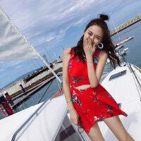 女士泳衣显瘦遮肚裙式新款红色连体保守温泉 游泳衣