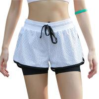 新款防走光训练短裤 含内衬假两件运动瑜伽健身跑步短裤女士 白色