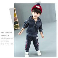 男童套装宝宝韩版加绒加厚衣服儿童时尚卫衣两件套潮衣