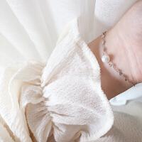 简约细款s925纯银珍珠手链小清新文艺女款个性少女心学生饰品 纯银单颗珍珠气质手链