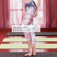 20180412032636540紧身瑜伽裤 女 个性3D印花瑜伽服 修身显瘦运动健身裤 夏季七分裤