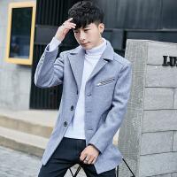 冬季外套男韩版春装夹克男青年休闲毛呢大衣潮男士妮子中长款风衣 灰色 L