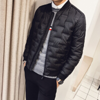 冬季羽绒服男韩版修身轻薄立领男士外套潮流青年纯色棒球服男短款